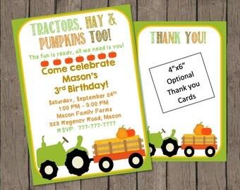 Birthday Invitation | Fall Birthday Invitation | Pumpkin Invitation | Farm Birthday Invitation