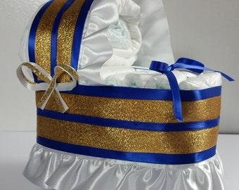 Royal Blue And Gold Trim   Diaper Bassinet Baby Shower Gift Table Decoration  Centerpiece