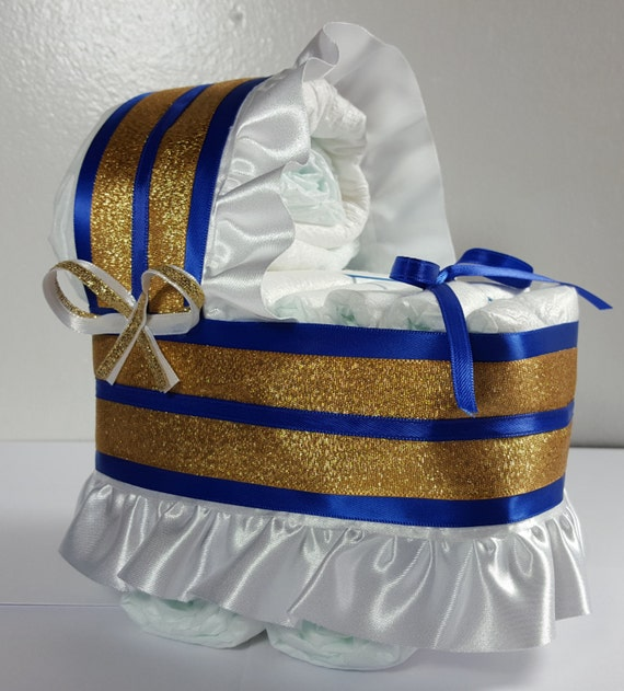 Baby Boy Gift Gold : Royal blue and gold trim diaper bassinet baby shower gift