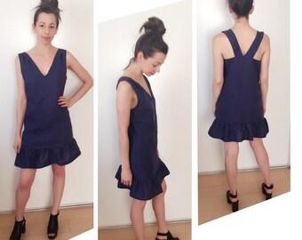 Navy Linen Sun Dress