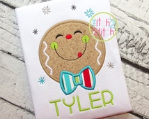 Christmas Shirt - Monogram Tee ~ Boys Embroidered gingerbread Shirt ~ Boys Christmas Shirt ~ Personalized Applique Tee ~ Gingerbread Onesie