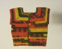 Crochet Boys Vest, Autumn Vest, 4 to 5 yrs, Toddler Clothes, Sleeveless Cardigan, Sweater vest, Wool, Brown, yellow, orange, Waistcoat, soft