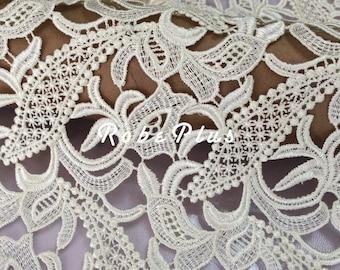 Floral Venise Lace Fabric - White Lace Fabric  - Floral White Lace Fabric - white Floral Lace Fabric - L225