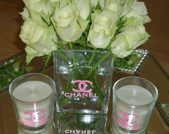 Chanel Inspired  Vase - Gold, White, Pink or Black