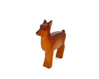 Wooden Toy Deer -Doe- Waldorf Toy-Montessori Toy-Hand painted Wooden Fawn-Wooden Animals-Nature Table Display