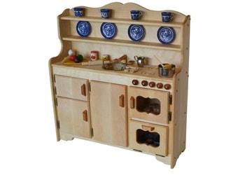 Waldorf Wooden Toy Kitchen-Hardwood Play Kitchen-Play Stove- Hardwood toy stove-Hardwood Toy Kitchen-Child's toy kitchen-Montessori Kitchen
