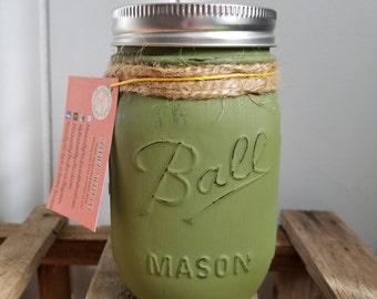 Small forest green mason jar