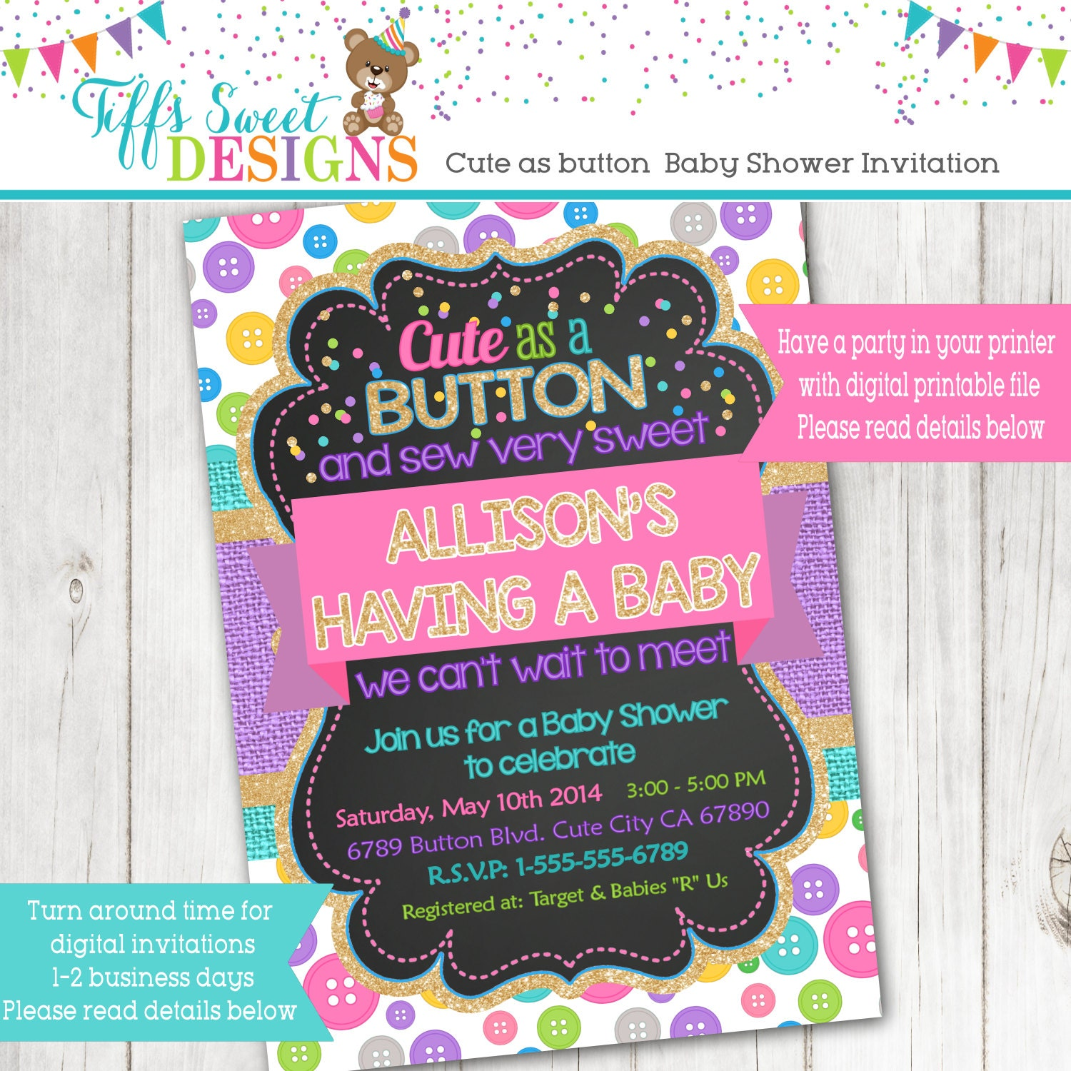 cute as a button baby shower invitation baby shower