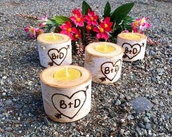 Set of 10 personalized Birch tea light holders