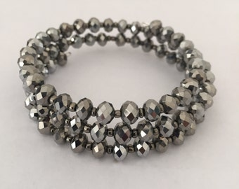 Silver Crystal Memory Wire Bracelet