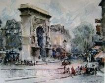 Arch Triumph Lithograph Paris France Vintage H F Wagner Watercolor Signed MCM Architectural