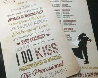Red and Gold Wedding Program Fans; multiple designs available