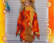"""BEAT The HEAT SALE 1:6 Scale Fashion Doll Clothes """"Golden Glow"""" Orange Striped Mini-Dress with Purse, Crocheted Scarf & Hat."""
