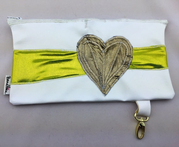 White Faux Vegan Leather Fanny Pack/Utility Belt or Clutch w/ Neon Green & Gold Heart Appliqué and Lime Polka Dot Interior by BandHäna