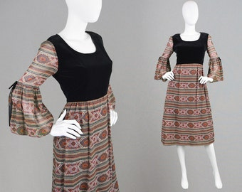 Vintage 70s Boho Dress Paisley Print Midi Dress Black Velvet Bodice Bell Sleeves Sheer Sleeves Boho Maxi Dress Printed Chiffon Striped Dress