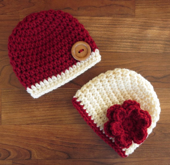 Crochet Hat Patterns For Twin Babies : Crocheted Baby Twin Boy/Girl Hat Set Cranberry Red