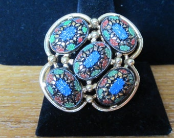 Signed Vintage Sarah Coventry Large Mosaic Brooch Pin
