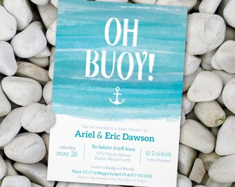 Oh Buoy Nautical Baby Boy Shower Invitation