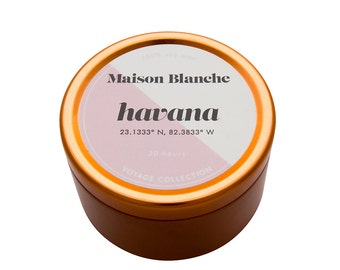 Havana Travel Candle. Hand-poured. 30 hr burn time