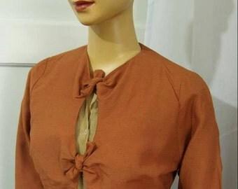 Burnt orange peekaboo tie jacket rayon linen