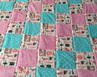 Dachshund quilt, dog blanket, baby quilt, flannel blanket, paris blanket, flannel quilt