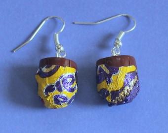 Cadburys Creme Egg Earrings,Dangly Earrings,Silver Earrings,Fimo Charm,Fun Earrings,Chocolate Earrings,Chocolate Jewellery,Fun Earring