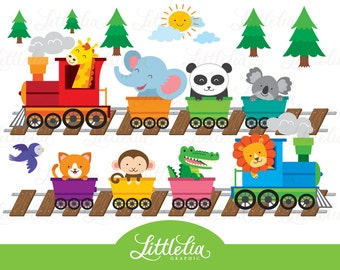 Animal Zoo train - Animal train clipart - 16016