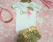 Baby Girl First Birthday Outfit / First Birthday Outfit Baby Girl / Gold Sequin Shorts / Flamingo Birthday outfit / Luau Birthday Outfit