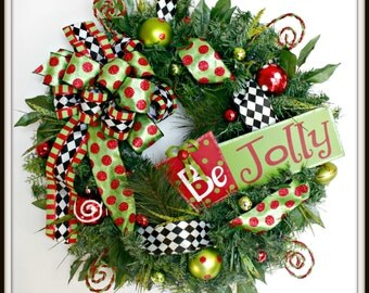 Christmas Wreath For Front Door, Merry Christmas Wreath, Whimsical Christmas Wreath, Holiday Door Wreath, Funky Bow Christmas Wreath,