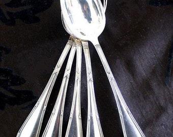 silverware spoon, 90 silver, B.S.F.Düsseldorf, 1900,6 pcs.