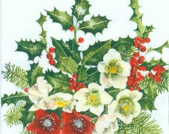 4 Christmas Napkins | Christmas Roses and Holly | Floral Napkins | Holly Napkins | Holiday Napkins | Paper Napkins for Decoupage