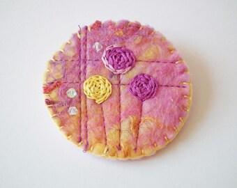 Handmade Felt Brooch, Embroidered Flowers, Beads, Mackintosh-Style, OOAK Gift, UK Seller