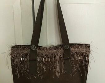 Brown Santung Single Placemat Embellished Shoulder Bag