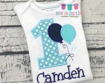 1st Birthday Navy Blue Light Blue Boy Shirt - Toddler Birthday Shirt - Balloon Birthday Outfit - Birthday shirt