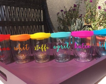 Personalized Wine Tumbler, Stemless Wine Tumbler, Wine Cup, Girls Weekend, Bridesmaid Gift, Best Friend Gift, Bridal Gift, Party Favor