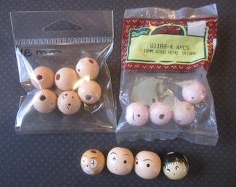 14 Wood Doll Head Face Bead Vintage, Painted Doll Faces, Wood Face, Wood Faces, Wood Beads, Face Bead