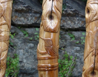 Hand Carved Hummingbird Walking Stick