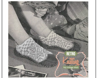 1950s Childs Christmas Fair Isle Slippers - PDF Knitting Pattern - Instant Download