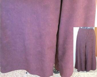 Vintage 90's Wine Leather Print Moleskin Split-Skirt Handmade Gauchos Wide Leg Pants Comfortable Practical Classic Country Style Ladies Gift