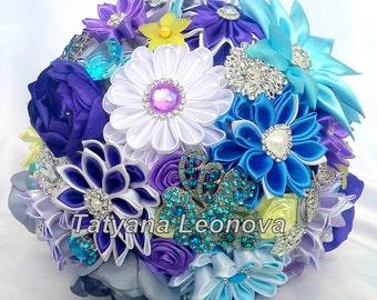 "Brooch bouquet.  Fabric Wedding Bouquet, Blue bouquet, Purple bouquet, White and Light yellow bouquet 9"""