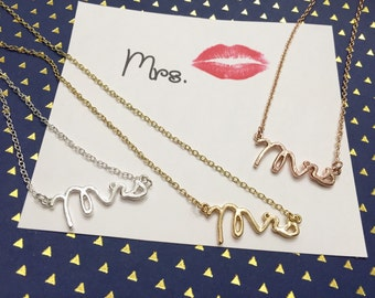 Dainty Mrs Necklace in Gold, Silver ,perfect everyday necklace