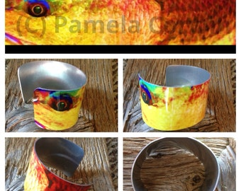 Redfish up close on aluminum metal cuff: red drum fish on wide cuff spottail bass on bracelet