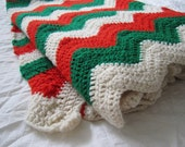 Crochet Blanket in Christmas Colors - Red and Green