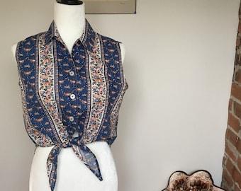 Vintage floral summer blouse