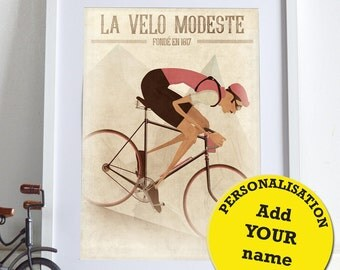 PERSONALISED Vintage Style Downhill Cyclist Bike Bicycle race Poster Wall Art Print Gift Home Décor