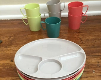 15 Piece Plastic Plates and Cups - Neon - Made in USA