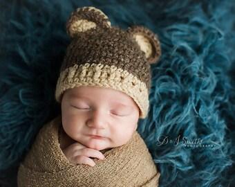 Teddy Bear Knit Hat, Baby Boy Hat Bear Hat,  Baby bear hat, crochet, 0 to 3 months Newborn Photography Prop, photo prop bear hat