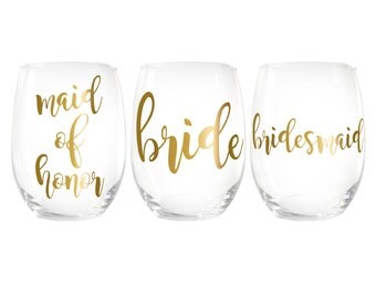 Bridesmaid, Bride, & Maid of Honor > Stemless Wine Glasses Gift > Bridesmaid Proposal > Bridal Party Gifts > Wedding Wine Glasses