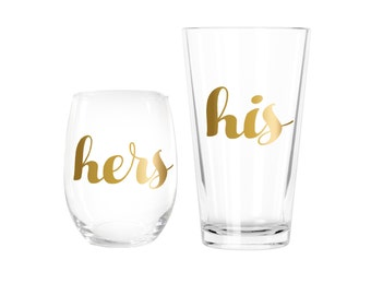 His & Hers Set of 2 Stemless Wine Glasses > Bride Bridal Shower Gifts > Engagement Gift > Bridesmaid Wine Glass > Wedding Gifts