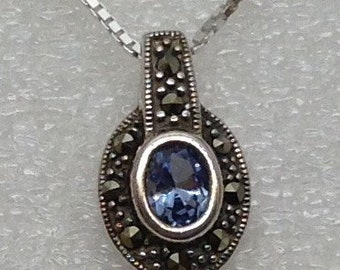 London blue topaz and marcasite pendant and chain.